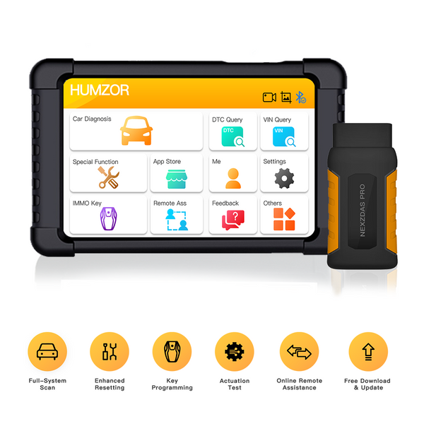Humzor NexzDAS Pro Bluetooth 10inch Tablet Full System Auto Diagnostic Tool OBD2 Scanner Car Code Reader with IMMO/ABS/EPB/SAS/DPF/Oil Reset - VXDAS Official Store