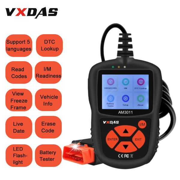 VXDAS OBDII Scanner,Car OBD2 Auto Fault Code Reader Universal Check Engine Light CAN Vehicle Diagnostic Scan Tool for All OBDII Protocol Cars Since 1996 AM3011 - VXDAS Official Store