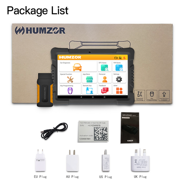 Humzor NexzDAS Pro Bluetooth 10inch Tablet Full System Auto Diagnostic Tool OBD2 Scanner Car Code Reader with IMMO/ABS/EPB/SAS/DPF/Oil Reset