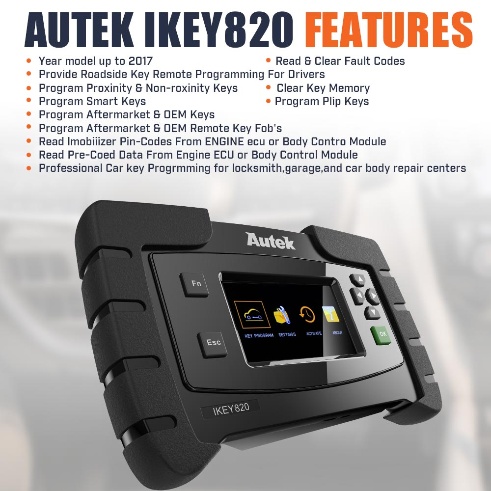 Aftermarket OBD2 OBDII Cable Compatible with Autek iKey 820 Key Programmer Tool