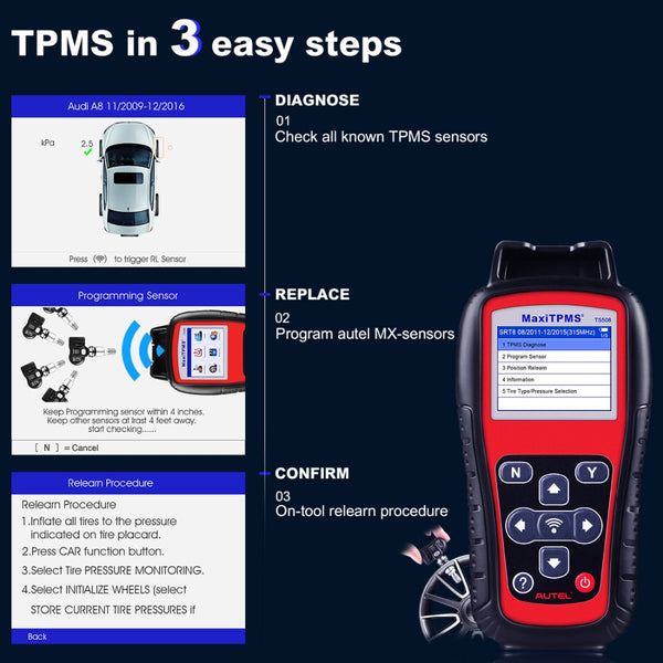 Autel MaxiTPMS TS508K TS508 Pre Tire Pressure Monitoring System Reset TPMS Replacement Tool with 8pc Sensors - VXDAS Official Store