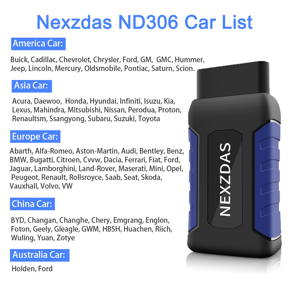 NexzDAS Standard (ND306) Bluetooth Comprehensive Full-system Diagnosis Tool  OBD2 Scanner, Engine, ABS, SRS    with Full-model Special Function