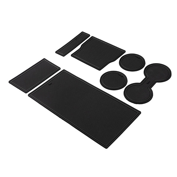 Non-Slip Gate Slot Mats Door Pad Center Console Mat   Cup Mat for Tesla Model 3 2017 2018 2019 White-Black-Red