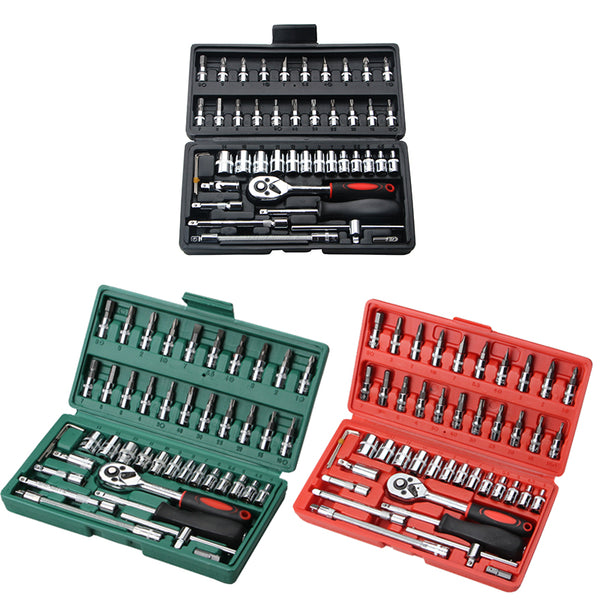46pcs Ratchet Wrench Set Auto Repair Kit 1/4'' Socket Wrench Box Spanner Auto Maintenance Tool