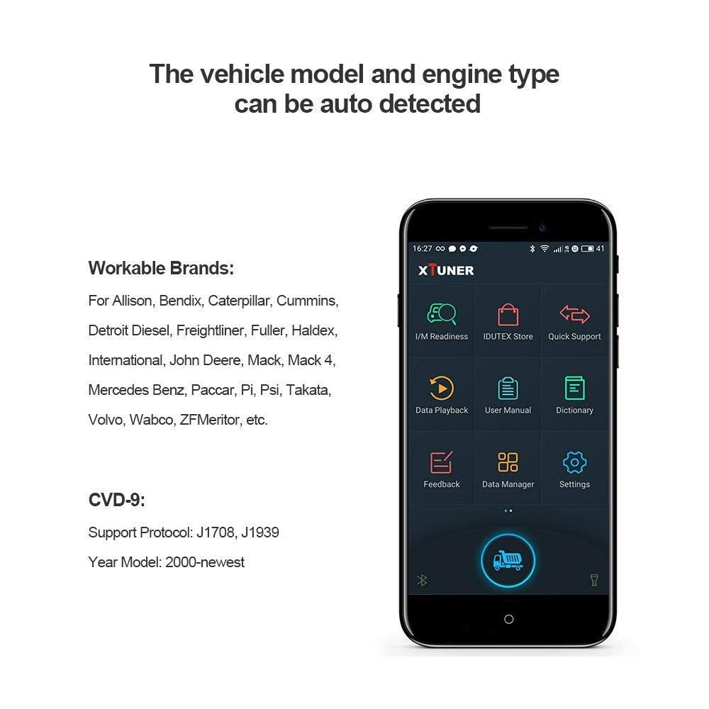 Xtuner CVD-9 Bluetooth Heavy Duty Truck Diagnostic Tool on Android  Commercial Diesel Engine Scanner