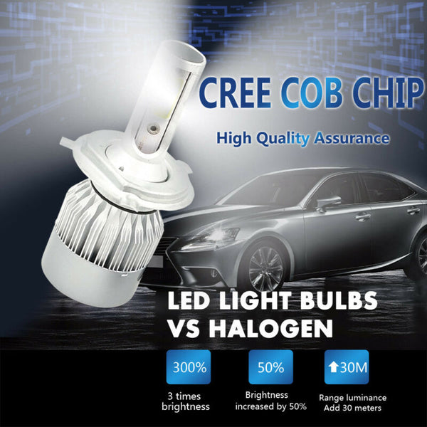 1850W Power H4 Kit 277500LM HB2 Hi/Lo 9003 CREE Bulbs 6000K Headlight LED White - VXDAS Official Store
