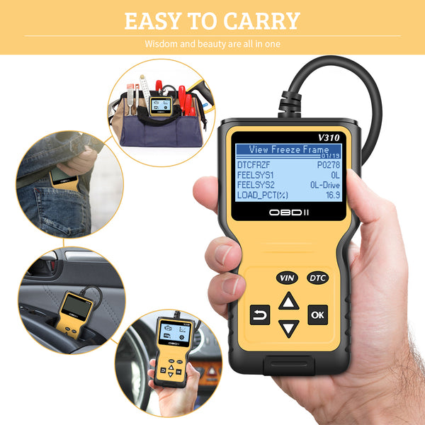 V310 Car Diagnostic Scanner Tool Portable Handheld OBDII CAN OBD2 Erases Trouble Clear DTC Code Reader Scan Tool - VXDAS Official Store