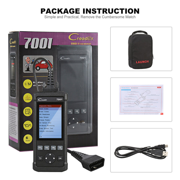 Launch CReader 7001 Full OBD2 Scanner/Scan Tool with Oil Resets Service for 61 cars - VXDAS Official Store