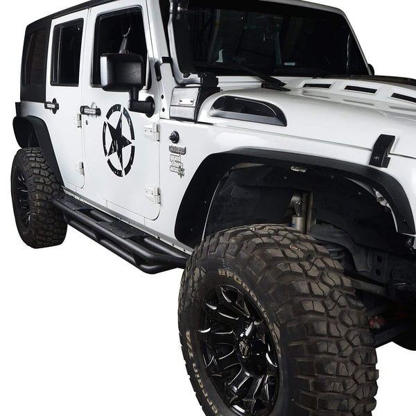 Solid Steel Off-Road Front & Rear Flat Fender Flares for 2007-2018 Jeep Wrangler JK & Unlimited - 4 PCS Set - VXDAS Official Store