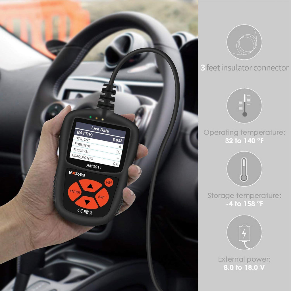 VXDAS OBDII Scanner AM3011 Auto Fault Code Reader Universal Check Engine  Light CAN Vehicle Diagnostic Scan Tool for All OBDII Protocol Cars Since  1996