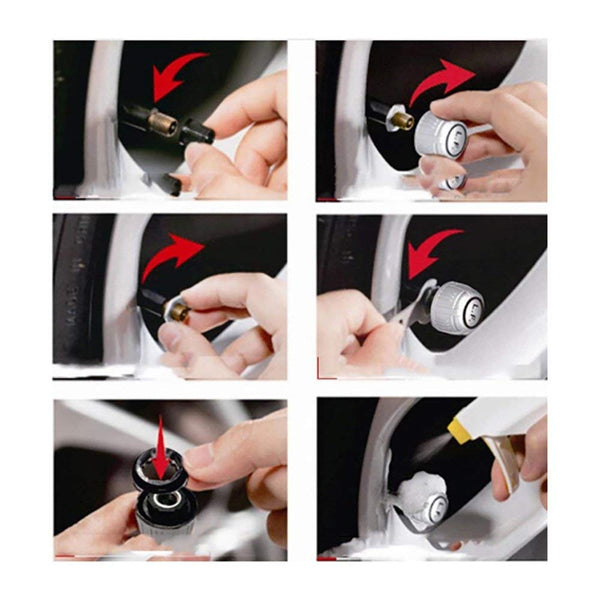 VXDAS Tire Pressure Monitor Tire Pressure Alarm Temperature Monitor TPMS Solar Energy Car TPMS TPE08 With 4 Sensors Real Time Display (Solar Energy) - VXDAS Official Store