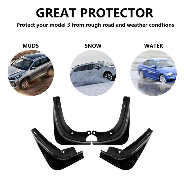 Car Mud Flaps Front Rear Mudguard Splash Guards Fender Mudflaps For Tesla Model 3 4pcs/set - VXDAS Official Store