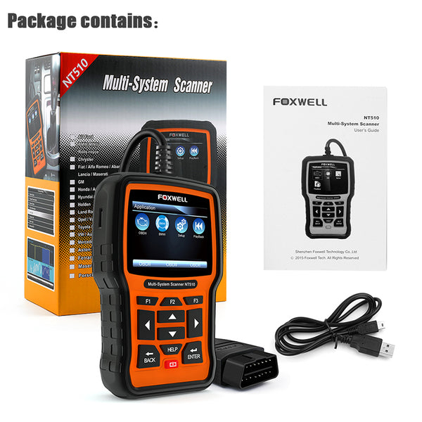 Foxwell NT510 Full System OBD2 Anto Diagnostic Scanner Tool for BMW ABS SRS Airbag SAS AT EPB DPF Reset Battery Registration  - VXDAS Official Store