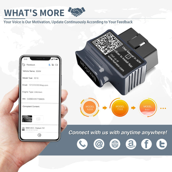 VXDAS NEXZSCAN Bluetooth OBD2 Scanner Code Reader Professional Diagnostic OBDII Scan Tool for iPhone & Android NexzScan NL50 (Reads ABS, Airbag, Transmission Codes) - VXDAS Official Store