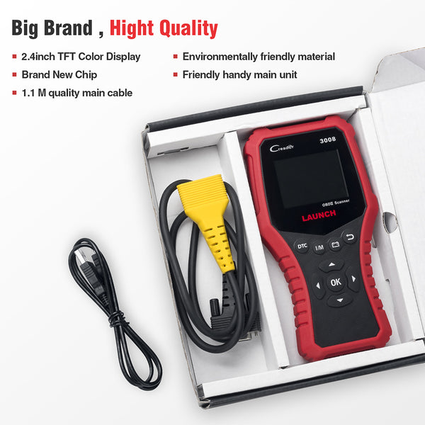 LAUNCH CR3008 OBD2 Auto Scanner Creader CR 3008 OBDII Engine Code Reader Scan tool Free Update Online - VXDAS Official Store