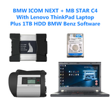 BMW ICOM NEXT A + MB STAR C4 DOIP with laptop plus 1TB HDD/SSD BMW BENZ Softwares Full Set Ready to Use