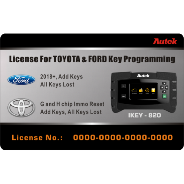 Autek IKEY820 License for Ford 2018+ and Toyota G and H Chip All Key Lost Key Programming - VXDAS Official Store