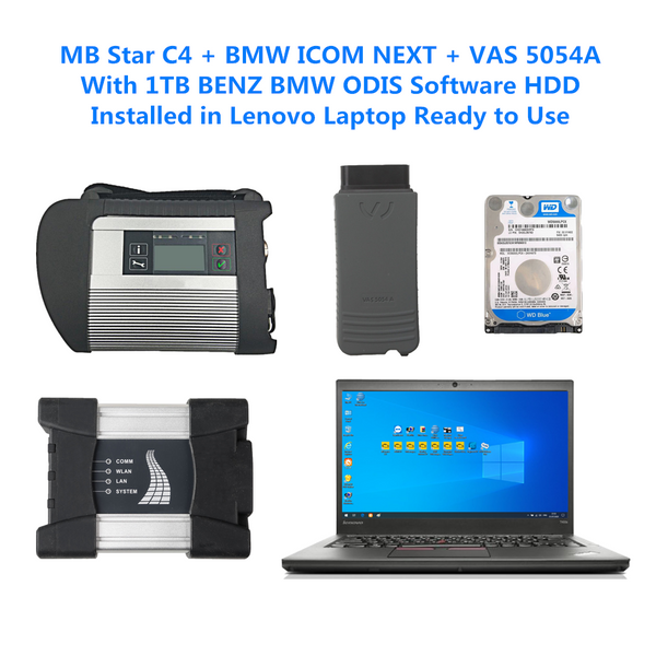 MB Star C4 + BMW ICOM NEXT + VAS 5054A With Lenovo Laptop and 1TB HDD/SSD BMW BENZ ODIS Software Complete Set Ready to Use