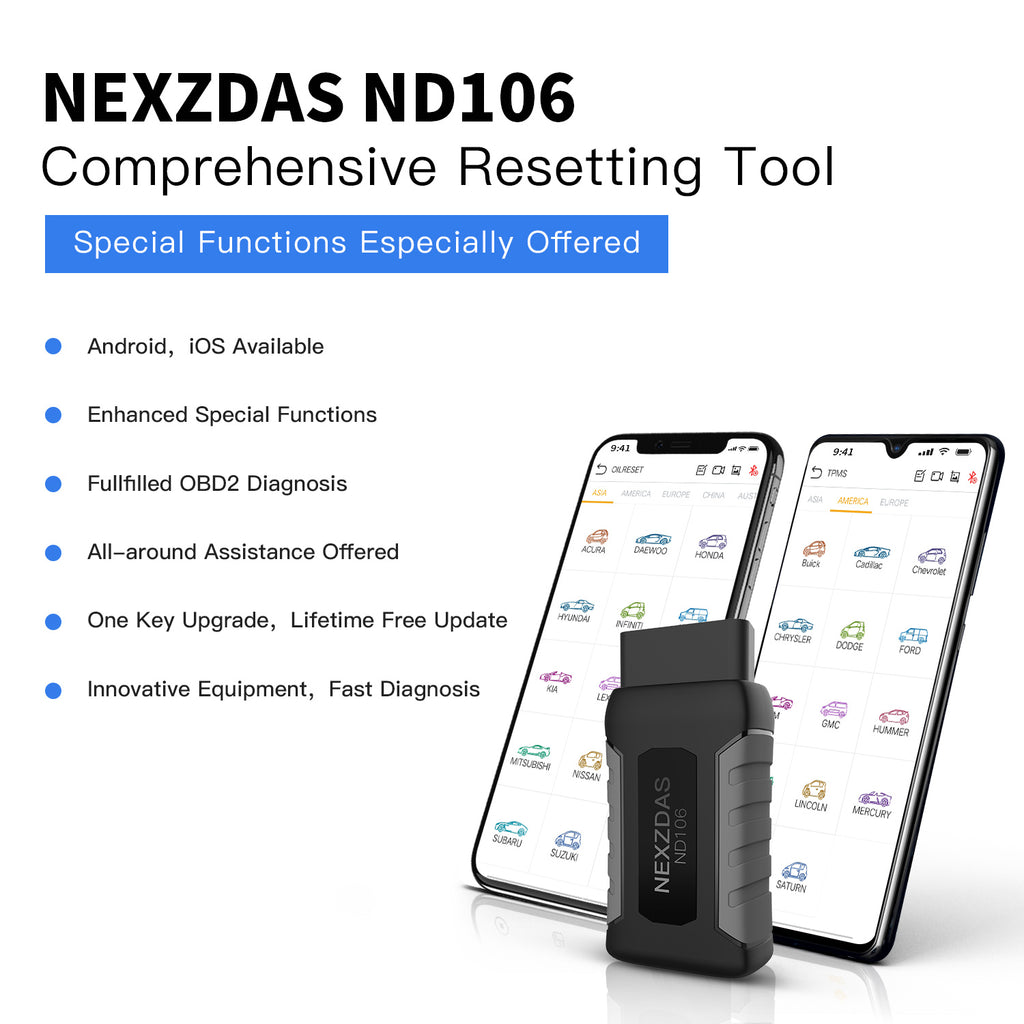 Humzor NexzDAS ND106 Bluetooth Special Function Car Resetting Tool With  ABS, TPMS, Oil Reset, DPF    for Android & iOS