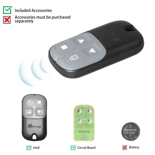 Xhorse XKXH03EN Universal Remote Key Garage Door 4 Buttons for VVDI Key Tool