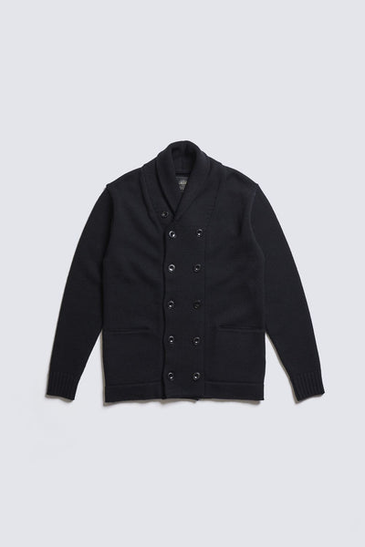 ACV-KN03 SHAWL COLLAR DOUBLE BREASTED WOOL KNIT