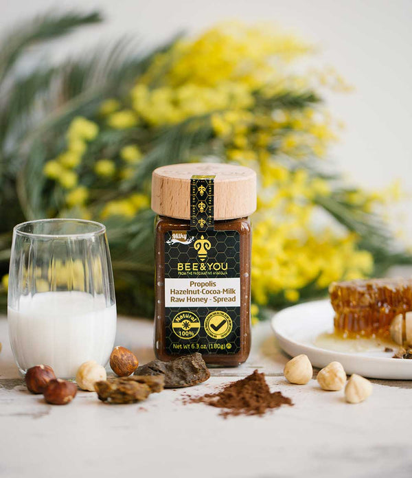 Propolis Haselnuss Kakao - Milch in Honig Mischung