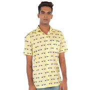 Bird print yellow shirt