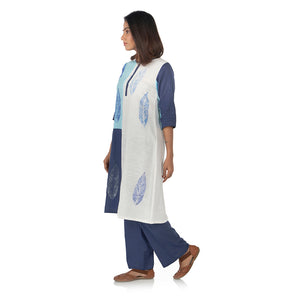 Color blocked kurta with flared palazzo pants