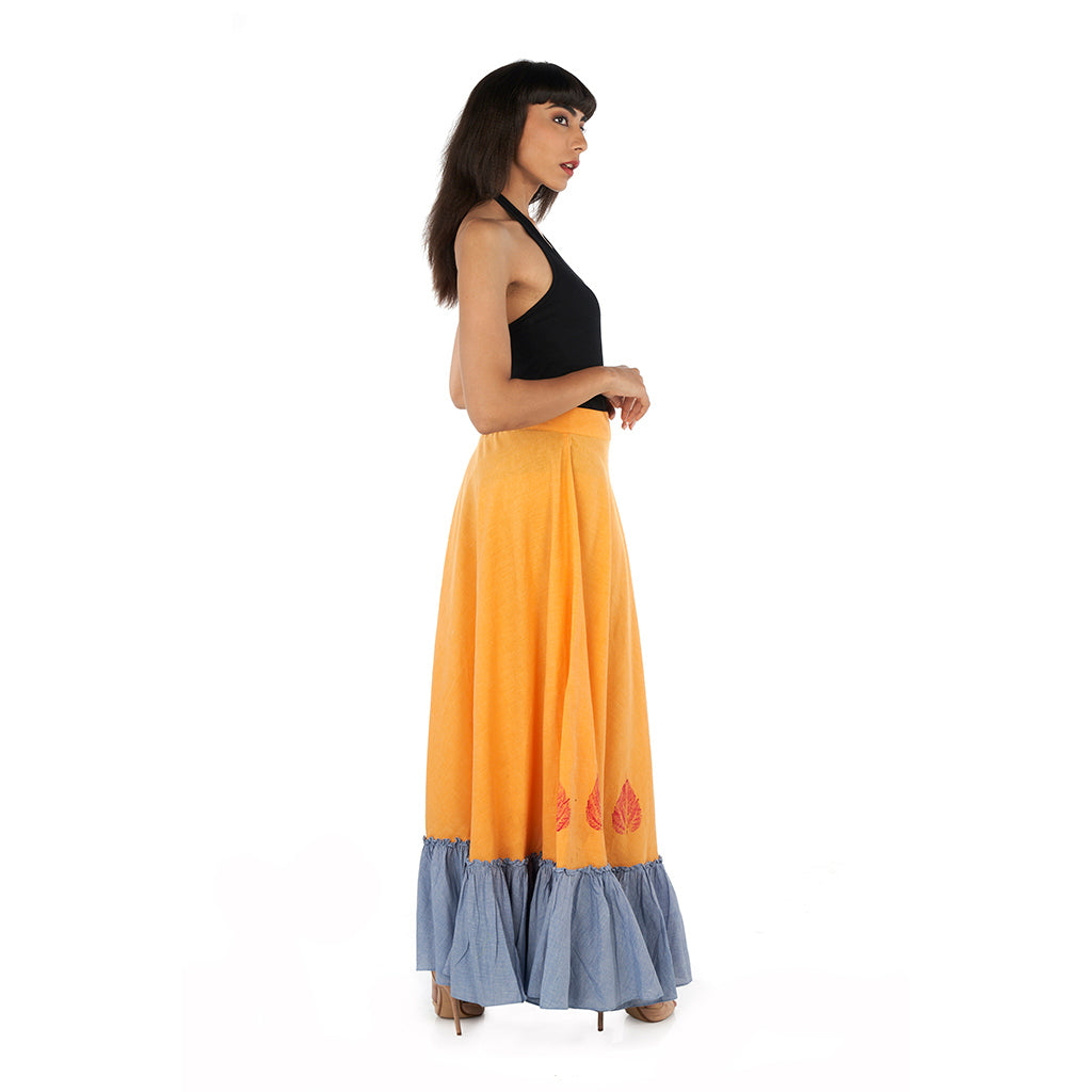 Bias long skirt with frilled hem