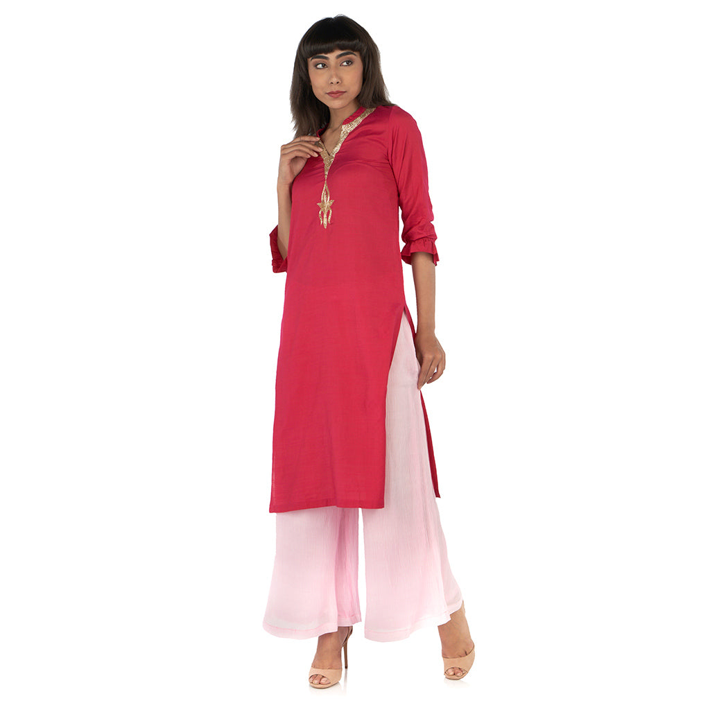 Straight kurta with flared palazzo