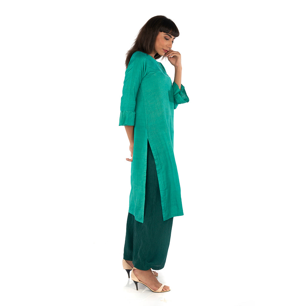 Front slit kurta with flared palazzo