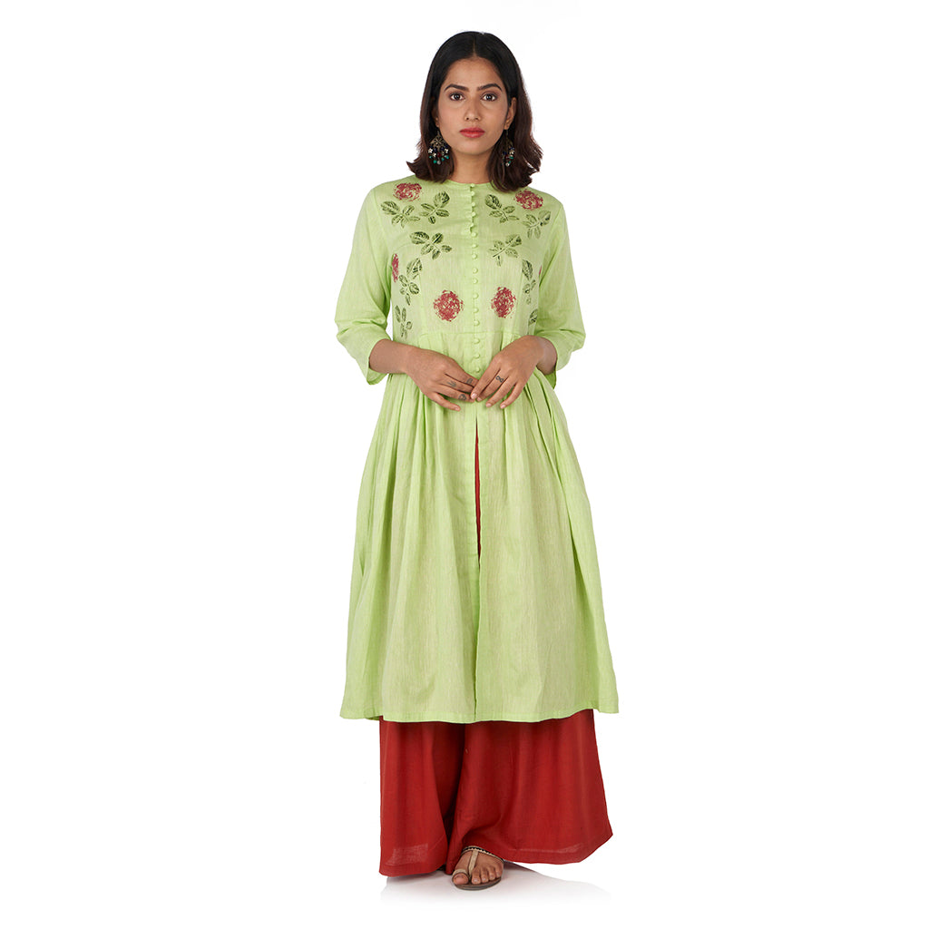 Rose leaf kurta with flared palazzo pants