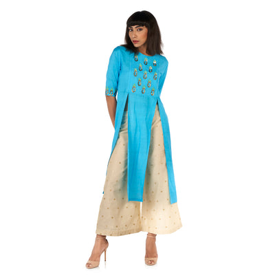 Double front slit kurta with flared palazzo