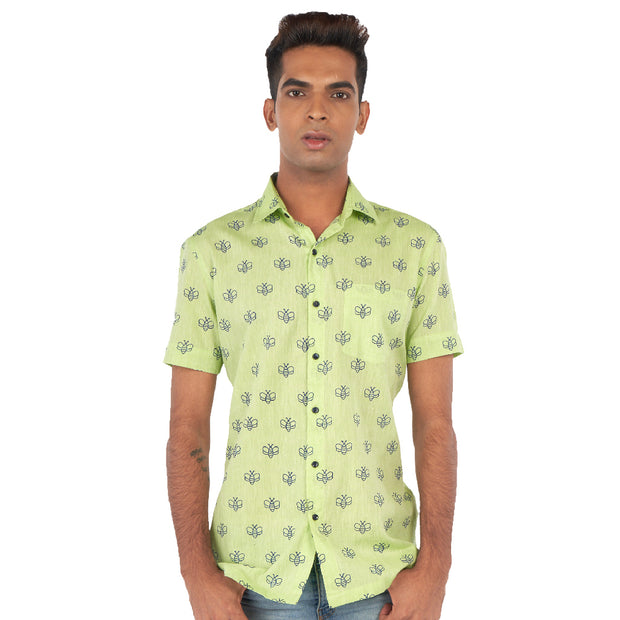 Moth print green shirt
