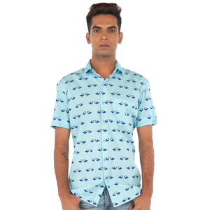 Bird print blue shirt