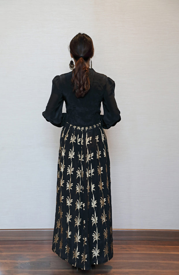Black Foliage Maxi dress