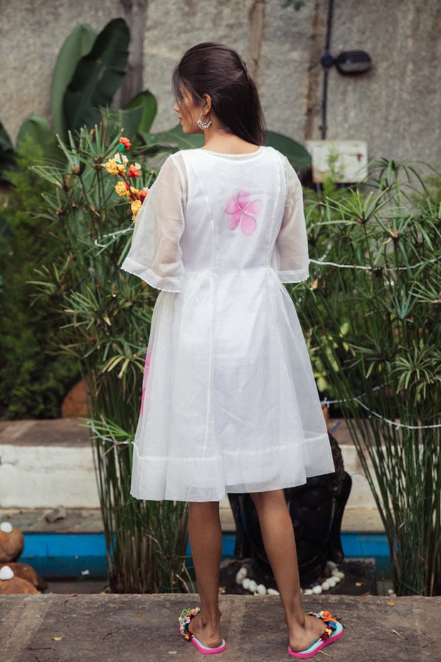 Organza hand painted frock dress