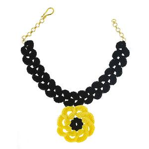 Black choker with yellow flower