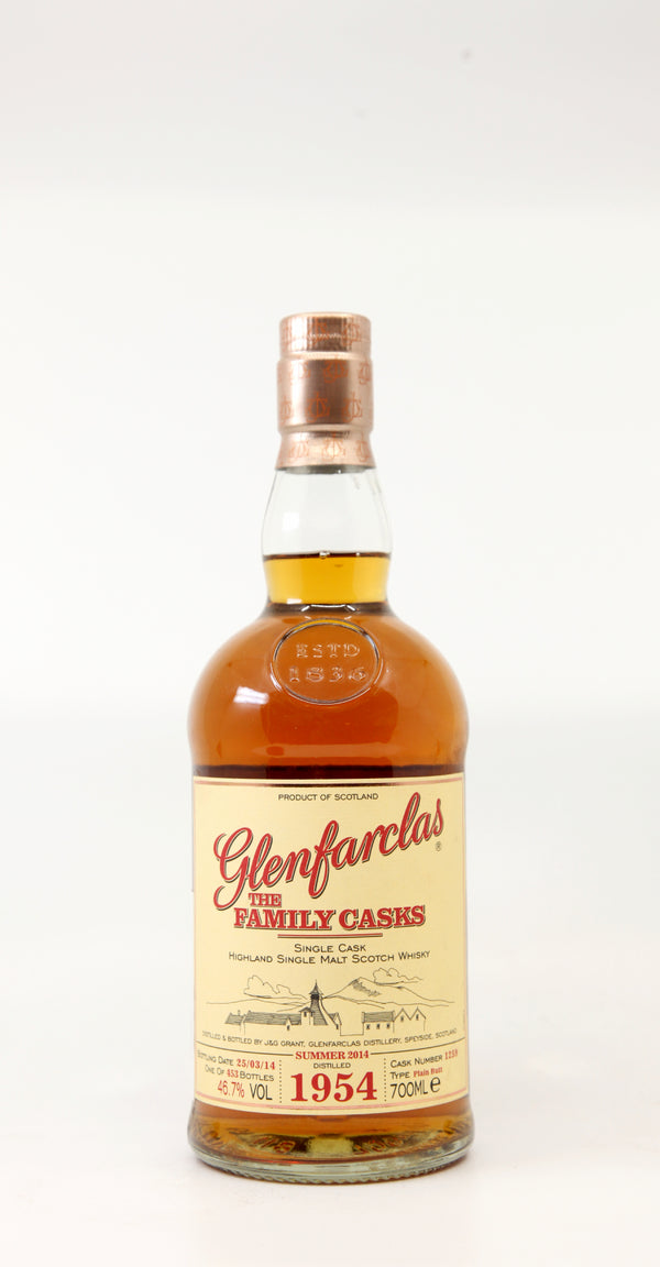 GLENFARCLAS 1954-2014 THE FAMILY CASKS #1259 PLAIN BUTT 70CL