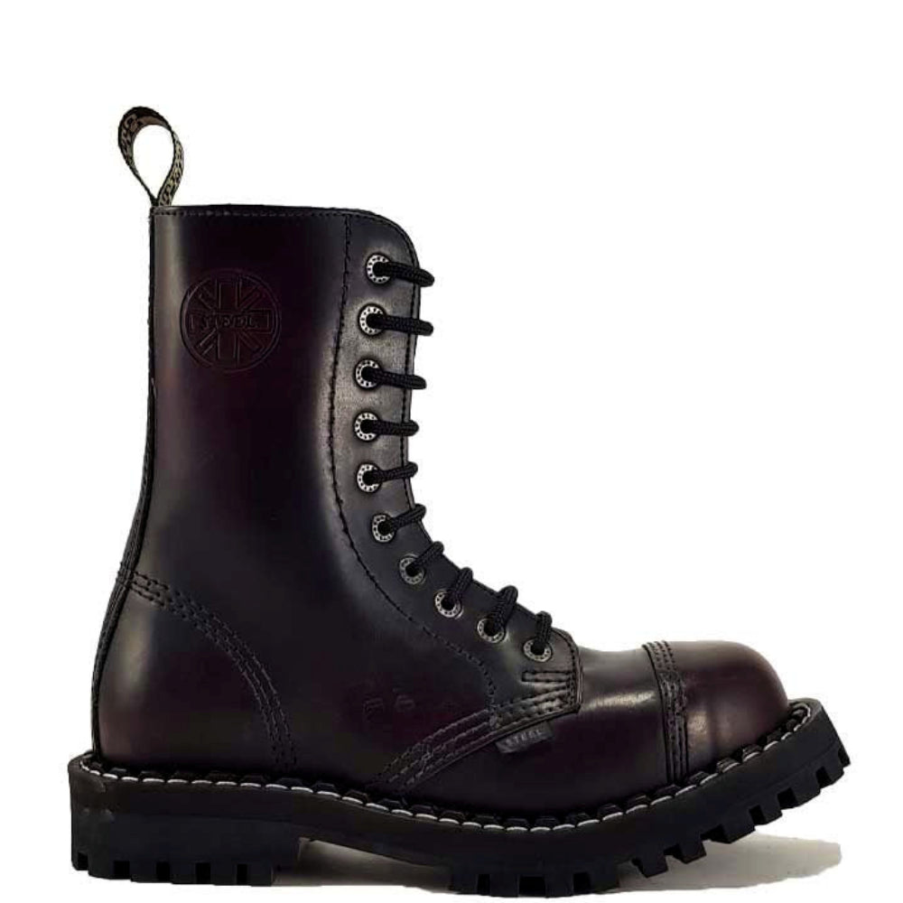 Steel Boot 10 Eyelet Burgundy