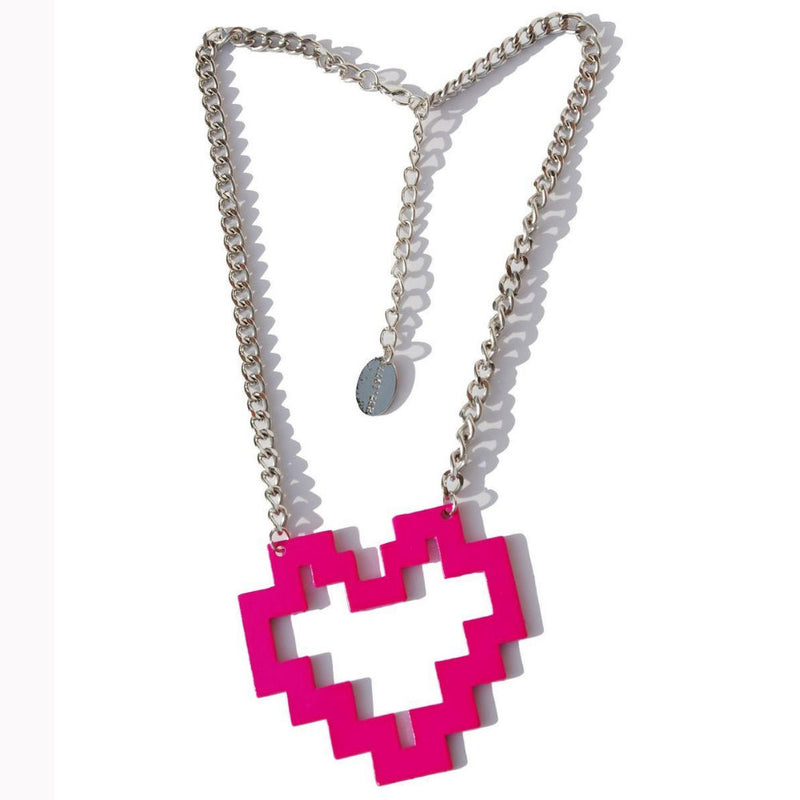 Darkside Pink Pixel Heart Necklace