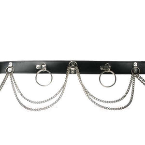 B403- Double Chain & Rings Leather Belt