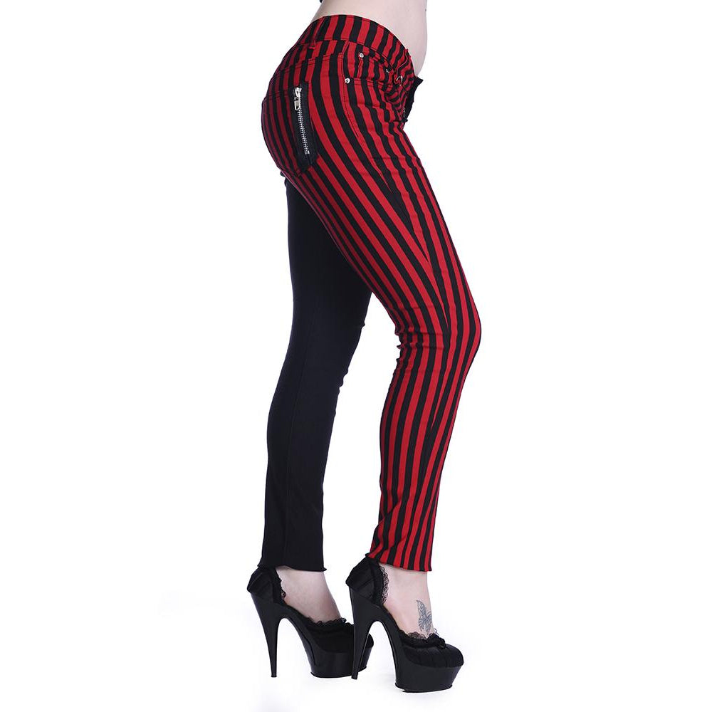 Half Black Half Red Stripes Skinny Jeans