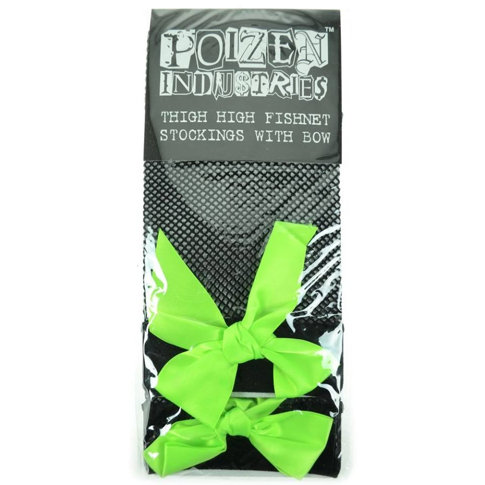 Poizen Green Fishnet Thigh Highs