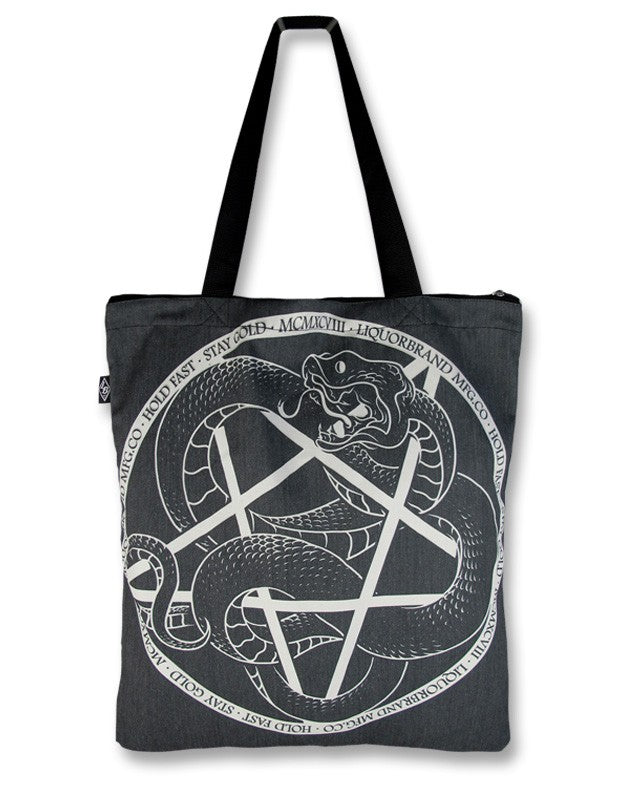 Liquor Brand Serpent Pentagram Totebag