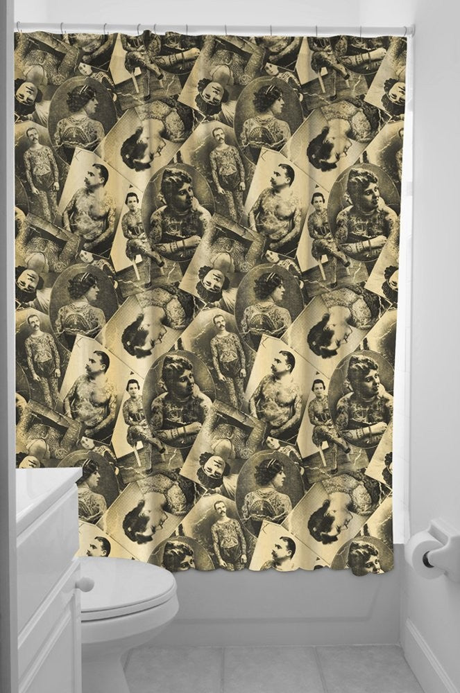 Sourpuss Old Time Tattoed Shower Curtain
