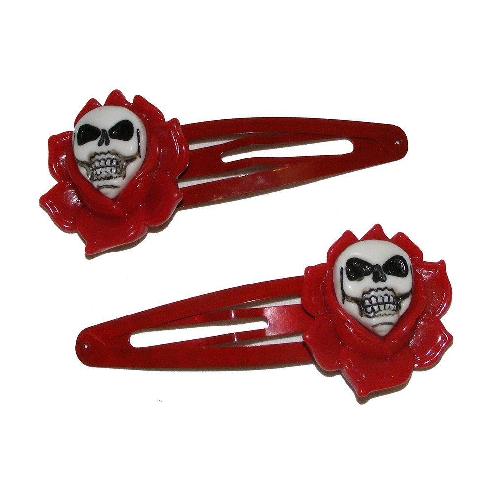 Kreepsville666 Skull Rose Hairslides Red