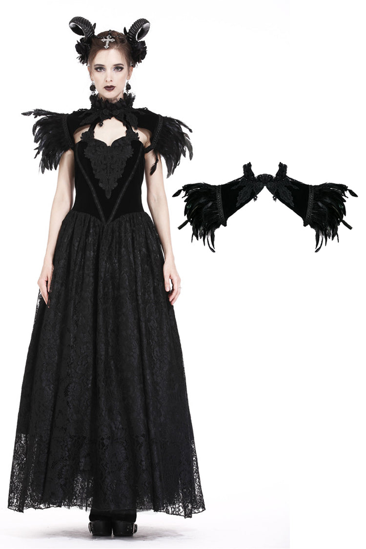 Dark In Love Gothic Feather Velvet Cape