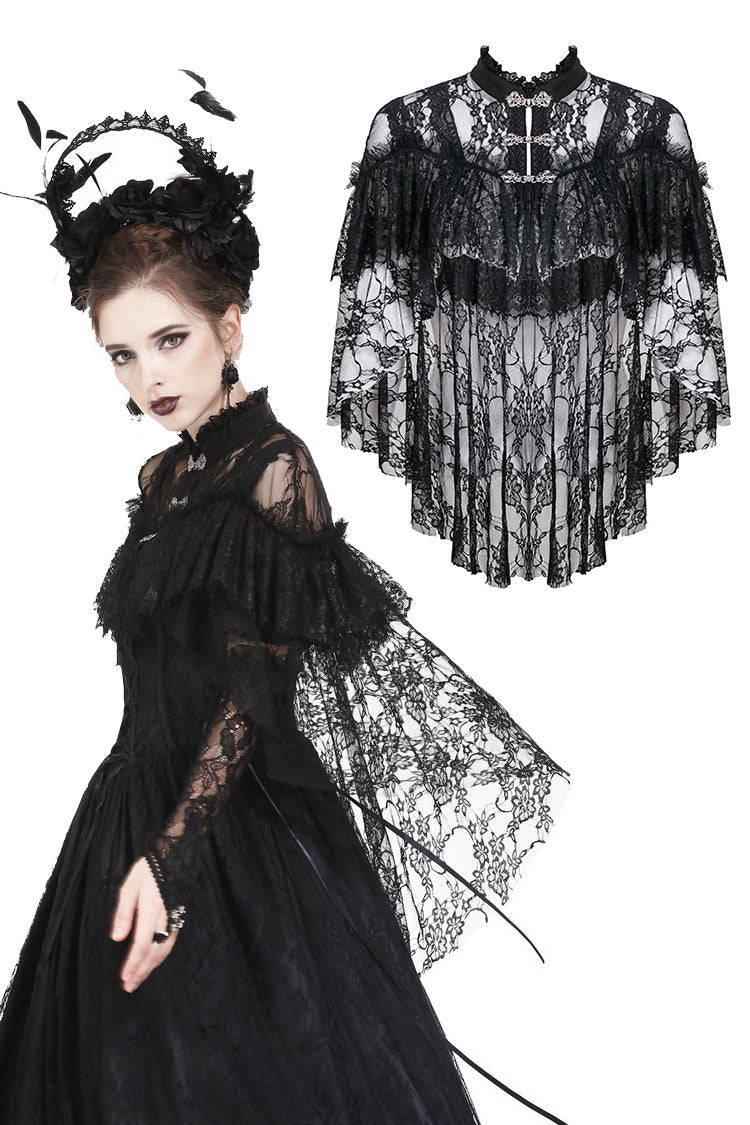 Dark In Love Gothic Lace High-Low Cape
