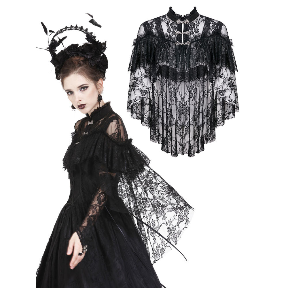 Gothic Lace High-Low Cape